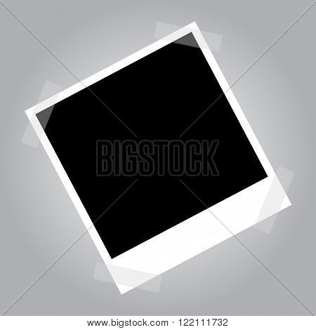 Empty photo frame on duct tape. Blank photo frame for your photo collage. Empty vector photo frame.