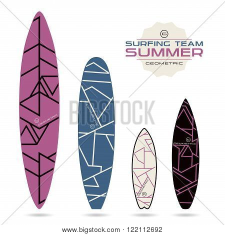 Geometric Lines Print For Surfboards