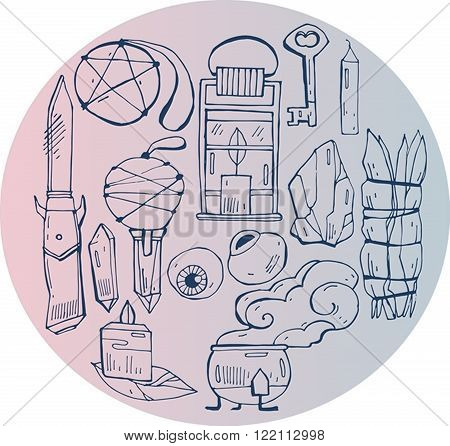 Hand draw vector illustration of witch things on pink gradient circle.Cute and decorative doodle style line art.