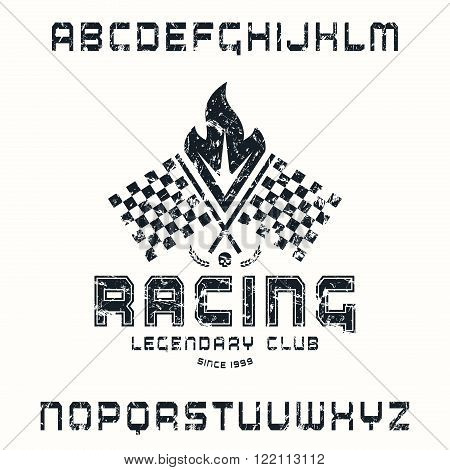 Square sanserif font in racing style with sport emblem. Black print on white background