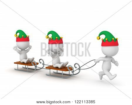 3D wearing elf hats character is pulling other characters riding sleds. Isolated on white background.