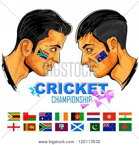 illustration of cricket player of different participating countries showing revenge