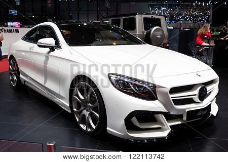 Geneva, Switzerland - March 1, 2016: FAB Design Mercedes Benz S-Class Coupe, side-front view presented on the 86th Geneva Motor Show in the PalExpo