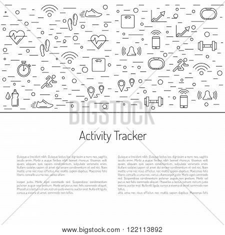 Illustrations fitness bracelet. Fitness tracker pedometer. Fitness tracker with alarm function. Sync fitness tracker and smart phone. Fitness tracker with heart rate monitor function. Linear style.