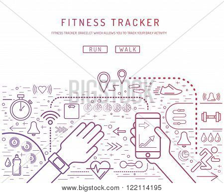 Fitness tracker with pedometer function. Fitness tracker with heart rate monitor. Fitness tracker with alarm function. Sync your fitness tracker with your smartphone. Lineal style.