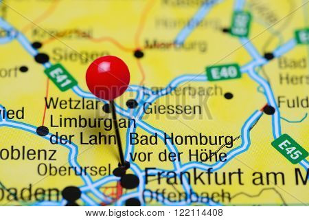 Photo of pinned Bad Homburg vor der Hohe on a map of Germany. May be used as illustration for traveling theme.