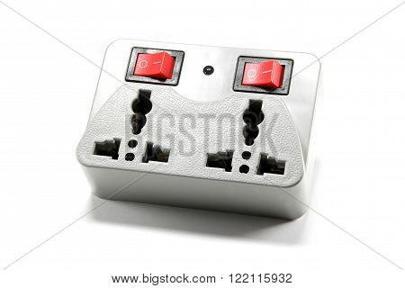 Switchable Electric Socket Isolated on White Background
