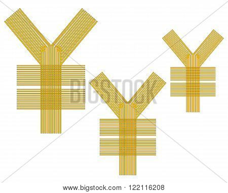 Japanese Yen currency the yuan sign yellow in color