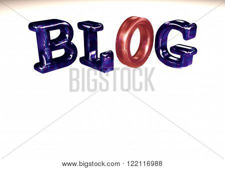 Glossy three-dimensional inscription Blog on dimensional background.
