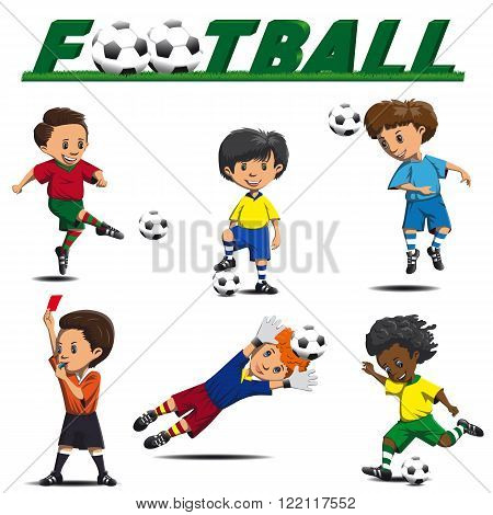 football and various players striker defender goalkeeper referee in game situations