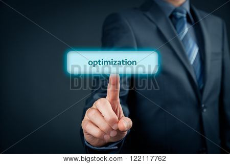 Optimization (SEO, management) concept. Businessman click on virtual button with text optimization.