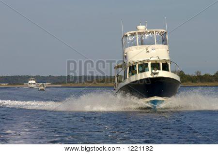 Boat Speeding Through Water