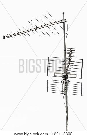 old television antenna receiver placed on the top of a building ** Note: Visible grain at 100%, best at smaller sizes