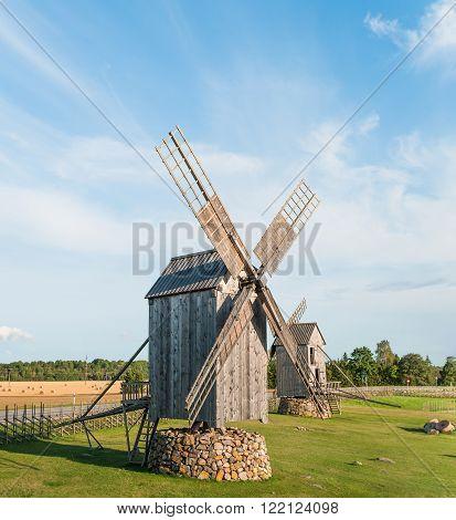 Old wooden windmills in Angla, island of Saaremaa.