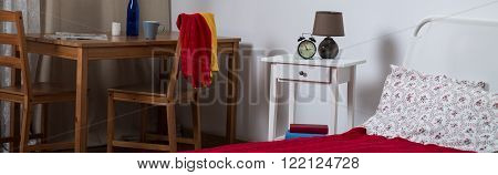 Panorama of lonely woman simple and cosy house interior
