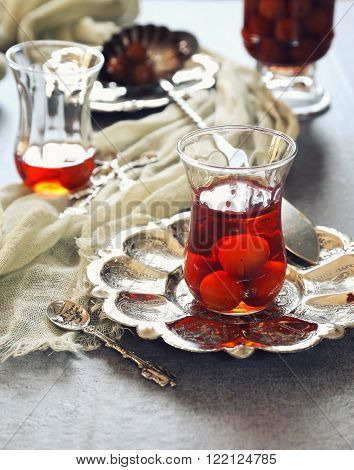 Cherry Eau de vie: french fruit brandy. Toned image