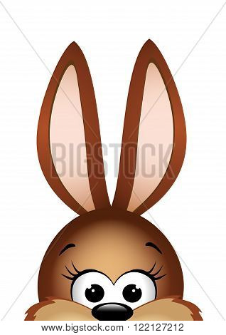 Easter bunny peeking out from the bottom edge of the postcard. Vector illustration.