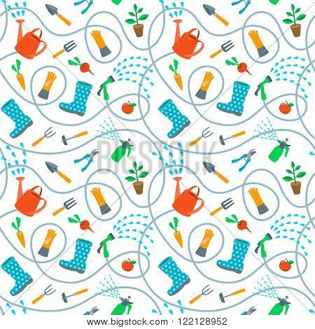 Gardening tools and fruits flat seamless pattern. Cute cartoon repeating endless background with scattered colorful objects and wriggling hose on white backdrop. Plants growing and soil cultivation
