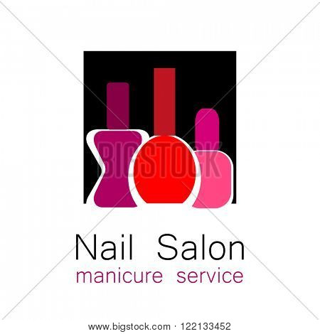 Nail Salon logo. Symbol of manicure. Design sign - nail care. Beauty industry, nail salon, manicure service, spa boutique, cosmetic products. Cosmetic label. Vector illustration.