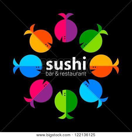 Sushi logo. Sushi bar restaurant design element. Sushi food,  sashimi, japanese food, sushi fish, sushi chef, sushi menu, japanese restaurant. Vector illustration.