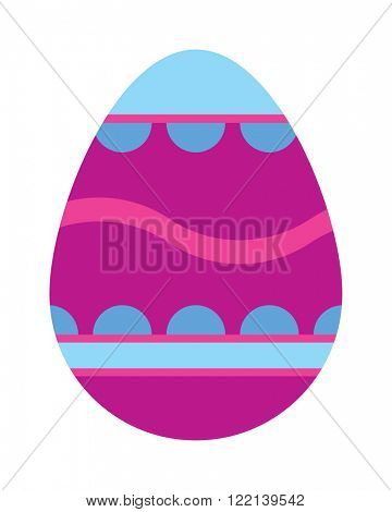 Color easter egg cartoon spring decoration and food egg symbol flat vector illustration. Colorful easter egg traditional painted easter food, easter egg seasonal ornament.