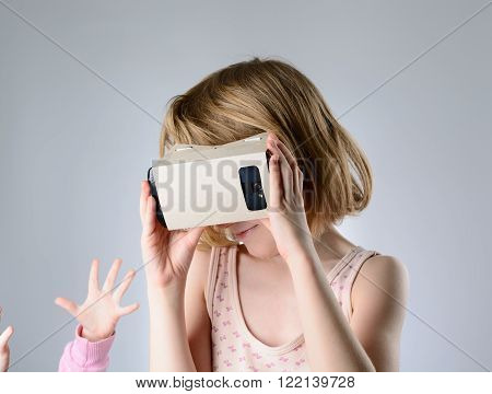 Child Playing A Virtual Reality Glasses