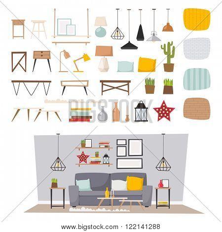 Furniture interior decor elements and room design furniture interior style concept vector. Furniture interior and home decor concept icon set flat vector illustration.