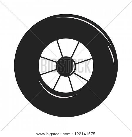 Transport car wheel black silhouette drive service and car wheel vehicle element flat vector. Car wheel silhouette black cartoon flat vector illustration on white background.