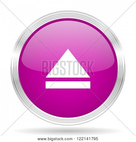 eject pink modern web design glossy circle icon