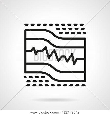 ECG paper black line vector icon