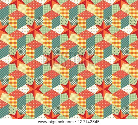 Colorful seamless patchwork pattern. Vector illustration of quilt.
