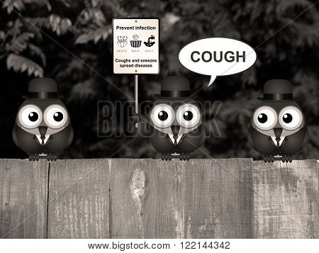 Sepia comical flu and cold prevention sign with birds perched on a timber garden fence against a foliage background