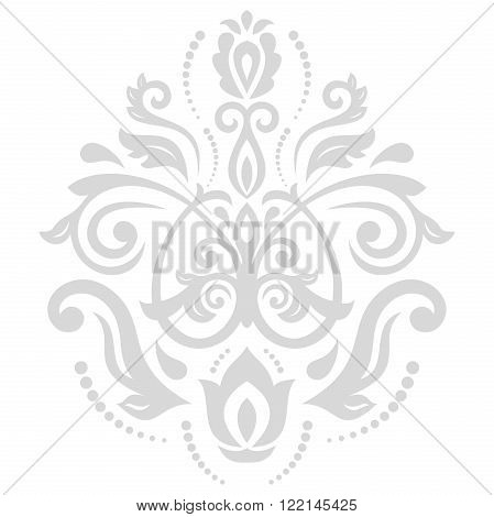 Elegant vector silver ornament in the style of barogue. Abstract traditional pattern with oriental elements