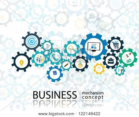 Business mechanism startup concept Abstract background with connected gears icons for strategy, service, analytics, research,digital marketing, communicate concepts. Vector infographic illustration