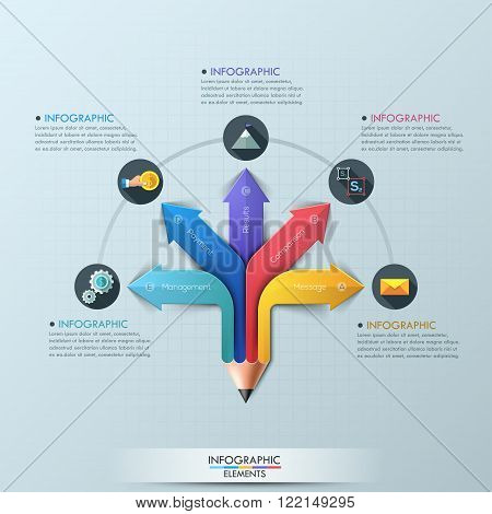 Arrow Pencil Infographic Design Template. Can be used for workflow layout, diagram, number options, step up options, web design, banner template, infographic.