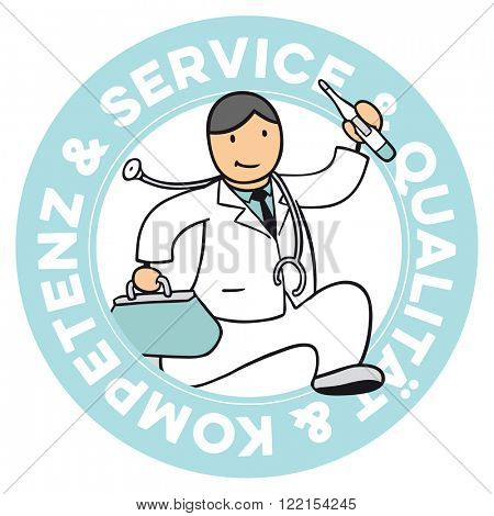 German cartoon doctor badge with slogan