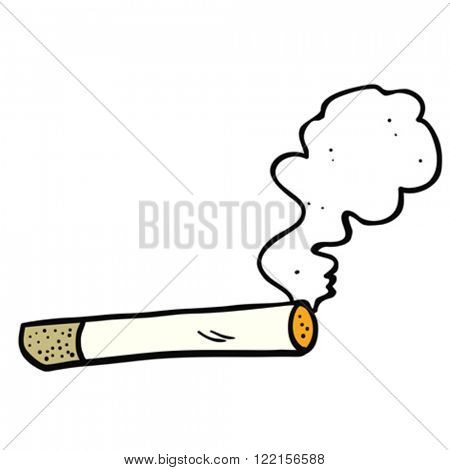 cartoon illustration of  smoking cigarette