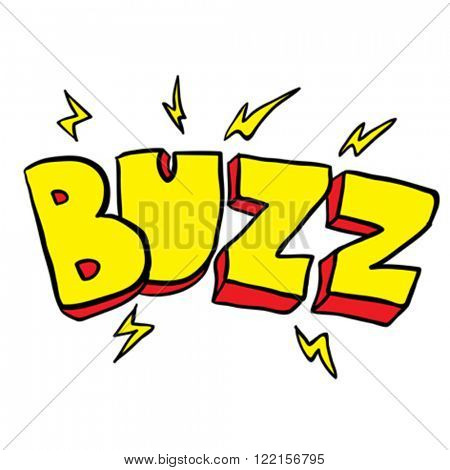 freehand drawn cartoon illustration of buzz symbol