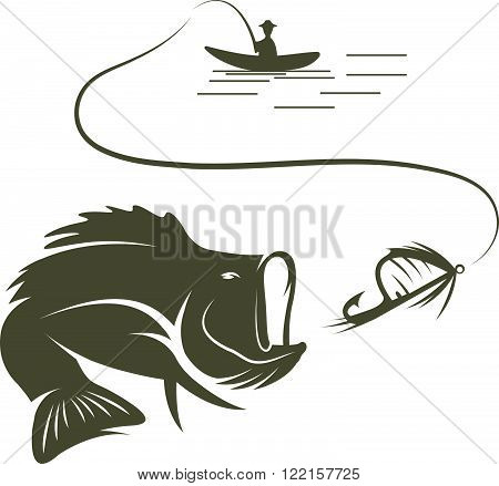 Illustration Of Fisherman In A Boat And Largemouth Bass