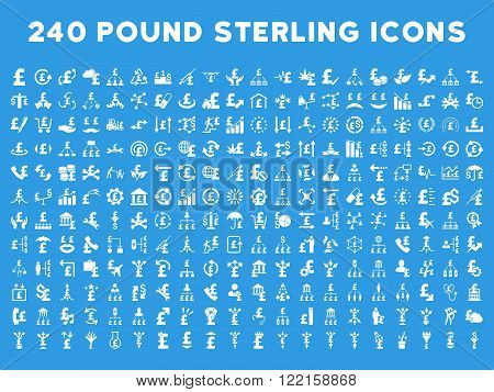 240 British Business vector icons. Style is white flat symbols on a blue background. Pound sterling icon is basic element.