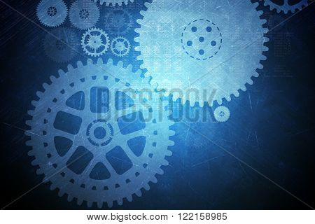 Abstract blue background with cog wheels and lights