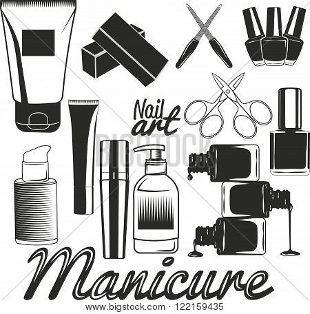 Vector set of manicure tools. Nails manicure. Beauty salon and cosmetics accessories. Design elements, icons, logo, emblems and badges isolated on white background.
