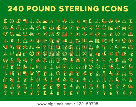 240 British Business vector icons. Style is bicolor orange and yellow flat symbols on a green background. Pound sterling icon is basic element.