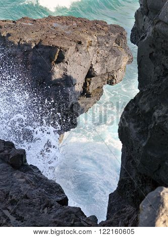 Gris Gris cape on South of Mauritius. The wave breaks against neighboring rocks