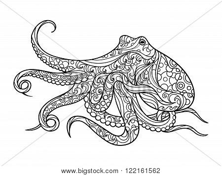 Octopus sea animal coloring book for adults vector illustration. Anti-stress coloring for adult. Zentangle style. Black and white lines. Lace pattern