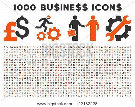 1000 Business vector icons. Pictogram style is bicolor orange and gray flat icons on a white background. Pound and dollar currency icons are used
