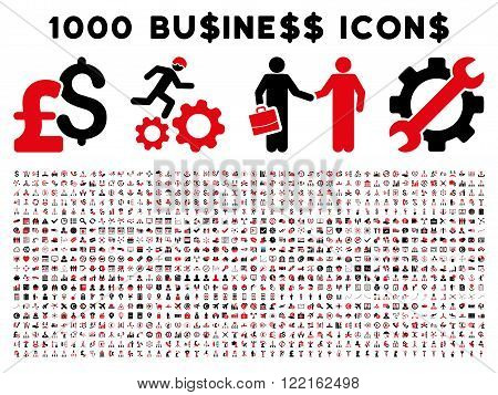 1000 Business vector icons. Pictogram style is bicolor intensive red and black flat icons on a white background. Pound and dollar currency icons are used
