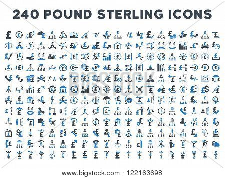240 British Business vector icons. Style is bicolor smooth blue flat symbols on a white background. Pound sterling icon is basic element.