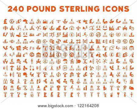 240 British Business vector icons. Style is orange flat symbols on a white background. Pound sterling icon is basic element.