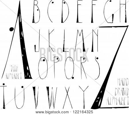 Thin hand drawn alphabet for your designs